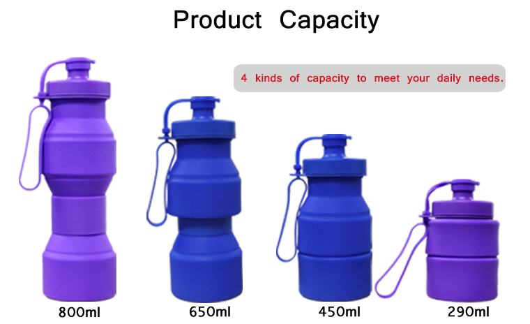 The silicone collapsible water bottle have 4 kinds of capacity to meet your daily needs by folding.