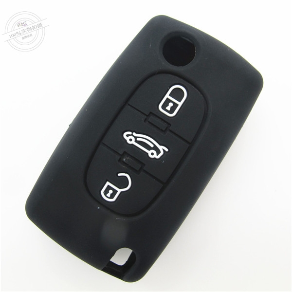 Peugeot car key covers, remote control key silicone case,black, three buttons