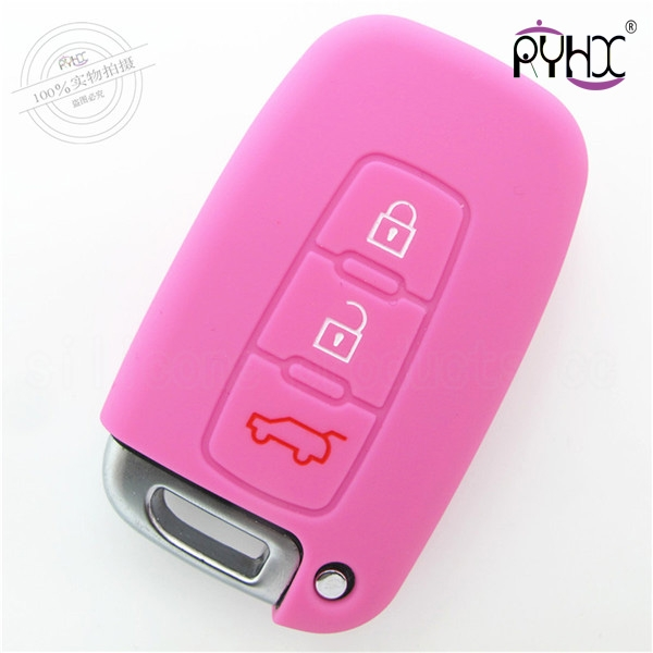 Hyundai car key silicone protective covers, car key silicone case in China Shenzhen, wholesale silicone car key bag,pink