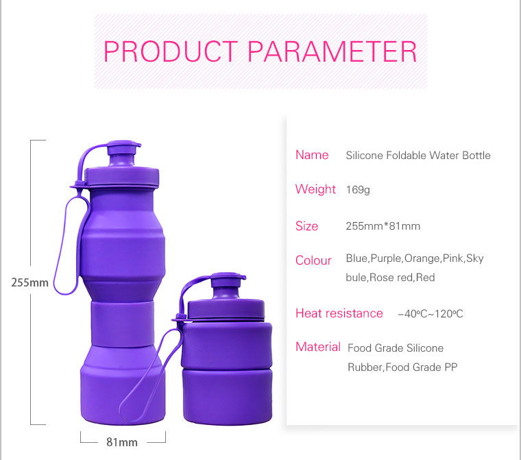 2017 new collapsible silicone water bottle paramete-169g,255mm high and 81mm diameter,7 colors,great heat resistance,food grade silicone rebber,food grade PP