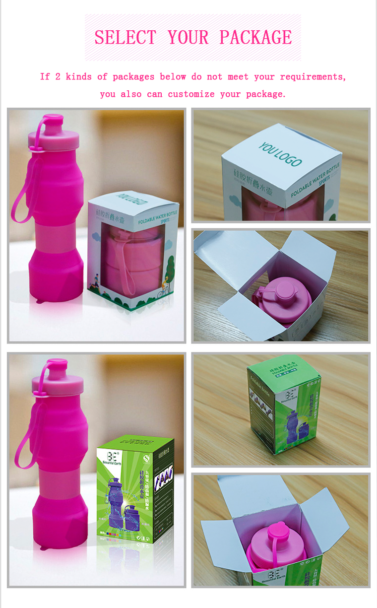 Select the package of silicone collapsible water bottle
