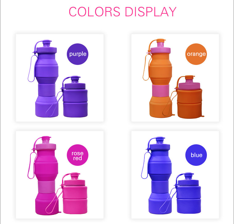 select the color of collapsible silicone water bottle-blue,sky-blue,purple,orange,pink,red,rose-red