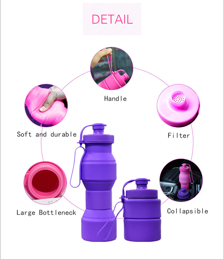 the detail of collapsible silicone water bottle-handle,filter,soft and durable,collapsible,large bottleneck