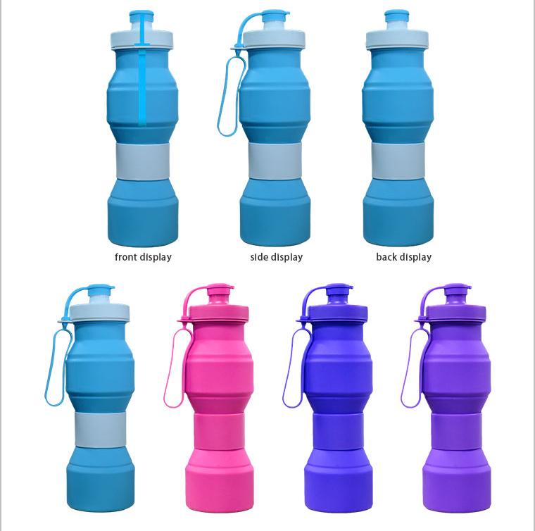 the front ,side and back of silicone water bottle