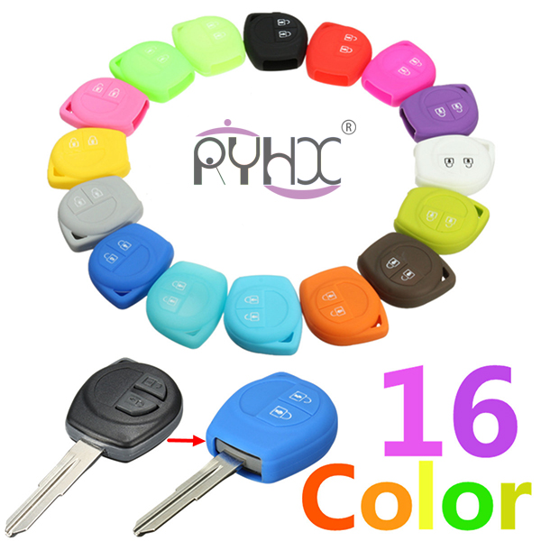 16 colors 2 buttons silicone key cover for SUZUKI SX4 Swift Liana Grand Vitara Jimny Alto car key remote