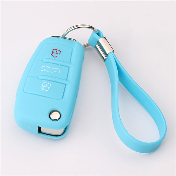 Sky-blue Audi A1 silicone key protector with keychain
