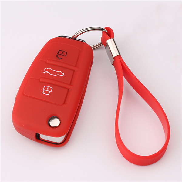Red Audi A1 silicone key protector with keychain