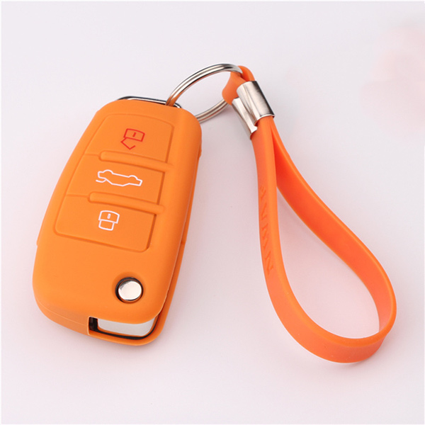 Orange Audi A1 silicone key protector with keychain