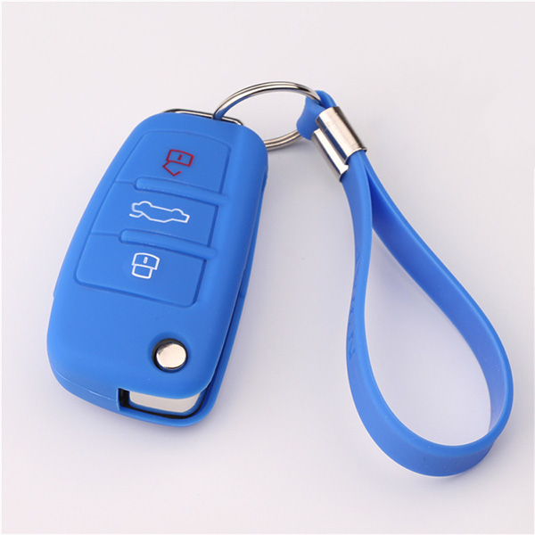 Blue Audi A1 silicone key protector with keychain